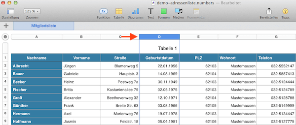 Spalte oder Zeile markieren und in Tabelle verschieben / sortieren