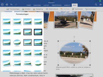 Bilder in Office App für iPad mit Bild-Effekten versehen