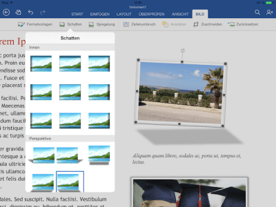 Schatten und Perspektive in Word, Excel & Power Point App