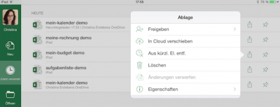 Microsoft Dokumentverwaltung auf iPad