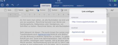 Link in Word App auf iPad oder iPhone einfügen