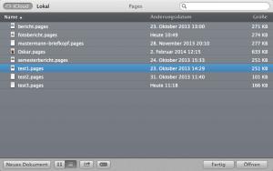 In der iCloud abgelegte Dateien