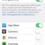 Ortungsdienste unter iOS 7 abschalten