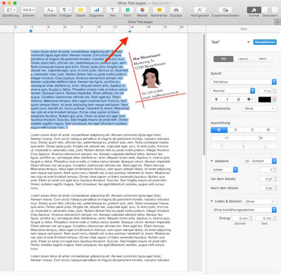 Wie man in Pages den eigenen Briefkopf mit Text kombiniert