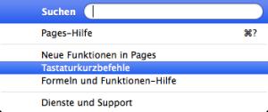 Pages Tastaturbefehle & Menübefehle finden