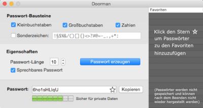 Doorman - Kostenloser Passwortgenerator für Mac OS X