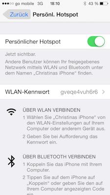 Passwort für iPhone Hotspot vergeben