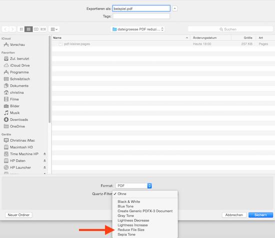 PDF verkleinern mit Filter in Vorschau App