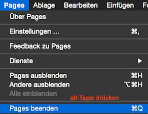Pages oder Numbers beenden und Fenster beibehalten