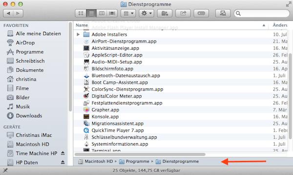Pfadleiste im Finder unter Mac OS X einstellen