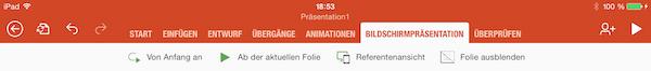 Bildschirmpräsentation auf dem iPad starten