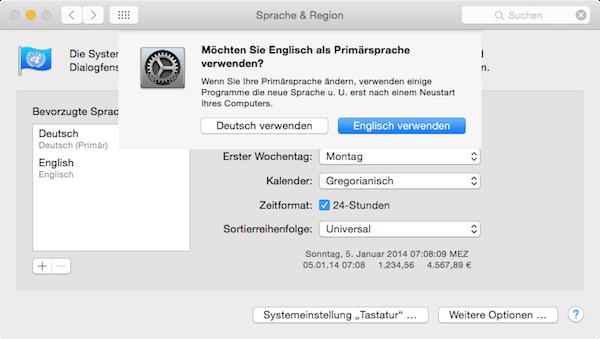 Primärsprache für den Mac festlegen