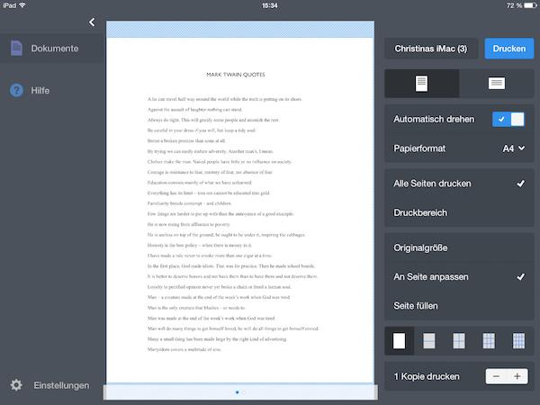 Dokumente vom iPad oder iPhone drucken mit der Printer Pro App