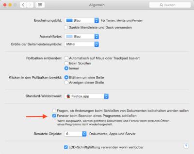 Fenster beim Beenden eines Programms am Mac schließen