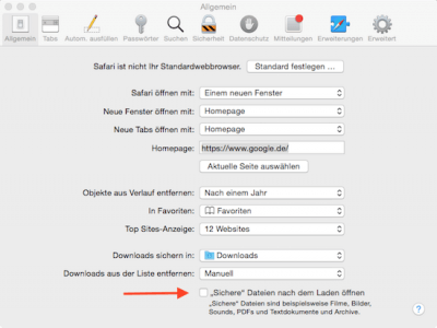 Öffnen von Download Dateien in Safari verhindern