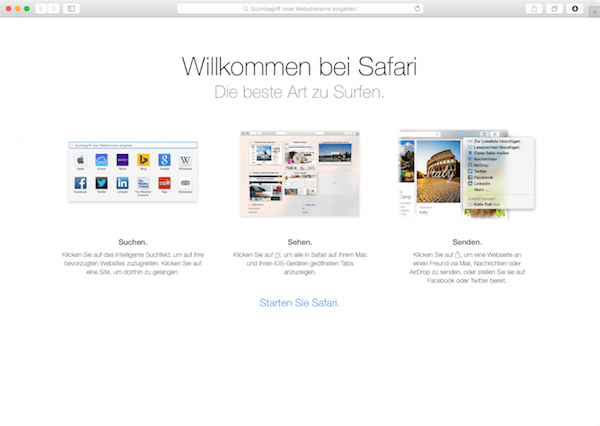 Neues in Safari 8 unter Yosemite