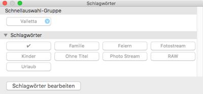 Schlagwörter statt Bewertungen in Fotos App für Mac OS X