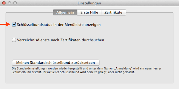 Mac Bildschirm mit Schlüsselbundverwaltung sperren