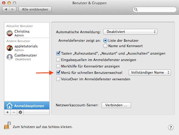 Benutzerwechsel am Mac einstellen