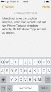 Auf dem iPhone schneller Text eintippen