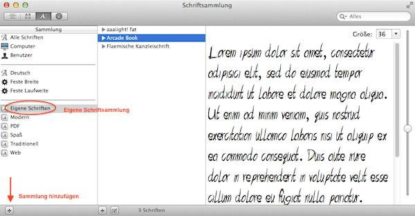 Schriften am Mac einer Schrift-Sammlung zufügen