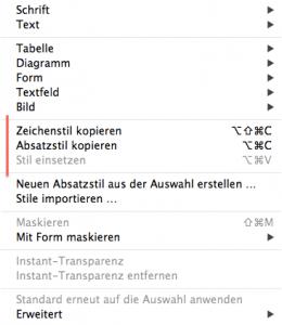 Textformat in iWork Dokumenten gestalten