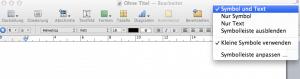 Kontextmenü für die iWork Symbolleiste in Pages