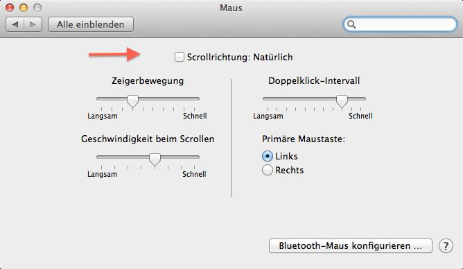 Scrollrichtung am mac anpassen