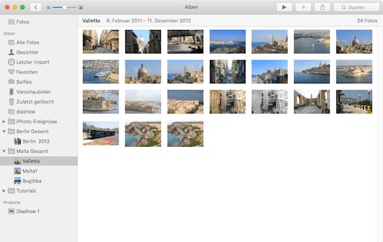 Besseres Arbeiten mit der linken Seitenleiste in der Fotosapp von Apple