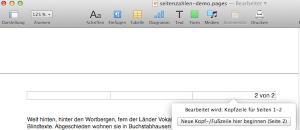 Seitennummerierung in Pages bearbeiten