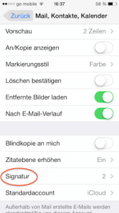 Mail Signatur am iPhone
