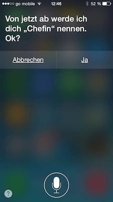 Siri spricht Sie mit Ihrem Namen an