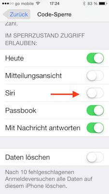 Lockscreen für Siri ausschalten