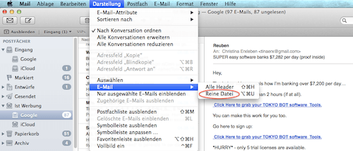 Header in der Mail App auslesen