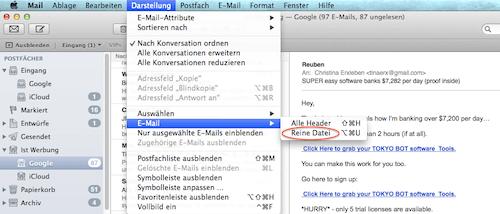 Header in der Mail App auslesen