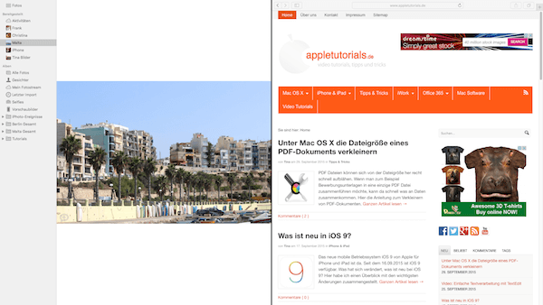 Splitscreen bzw. SplitView in Mac OS X El Capitan