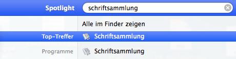 Schriftensammlung am Mac