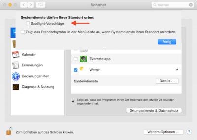 Spotlight Suche ausschalten in Mac OS Yosemite