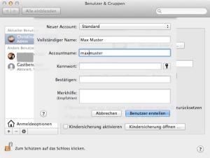 So richtet man am Mac einen Standardbenutzer ein