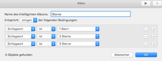 Eigenes Album oder Ordner für Sterne Bewertung in der Mac Foto App
