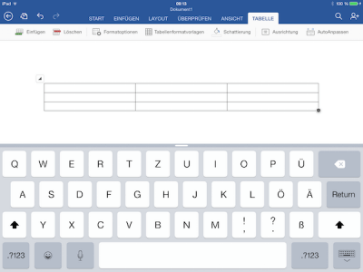 iPad Office App - Tabelle in Word, Excel oder Power Point einfügen