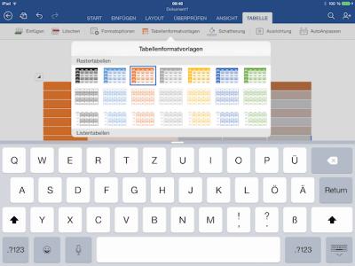 Tabellenvorlagen für Office auf dem iPad