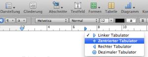 In Pages von iWork einen Tabulator auf dem Lineal setzen