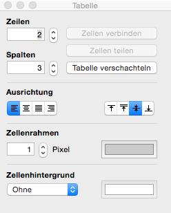 Tabellen in TextEdit einfügen