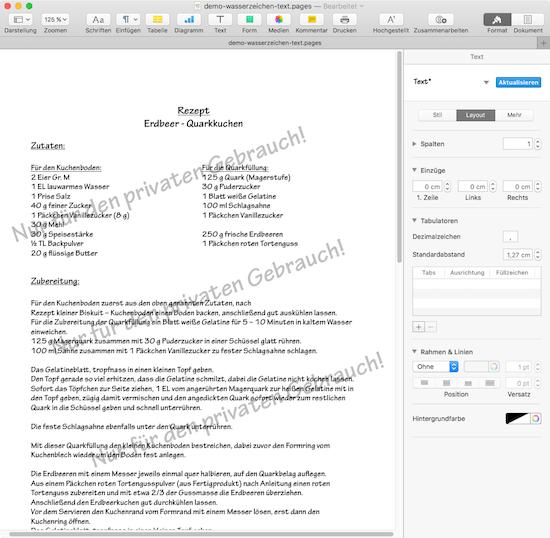 Beispiel für Text Wasserzeichen in Pages von iWork für Mac OS
