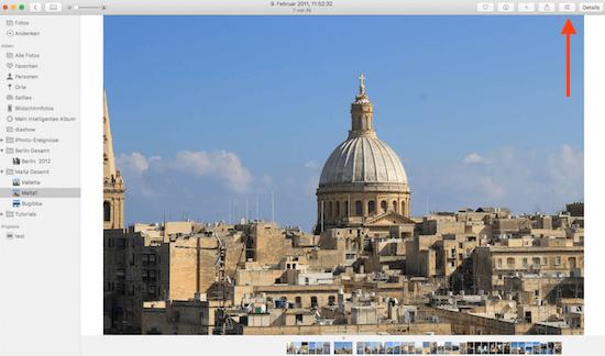 Bildbeschriftung am Mac mit Fotos von Apple