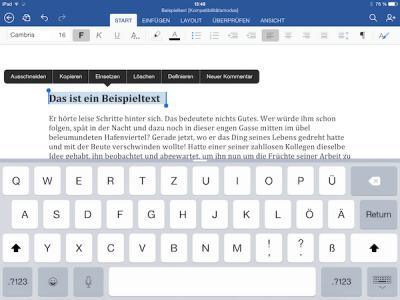 Text markieren und formatieren in Word, Excel oder Power Point für iPad