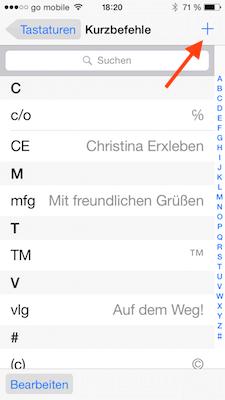 Textbaustein in iOS hinzufügen