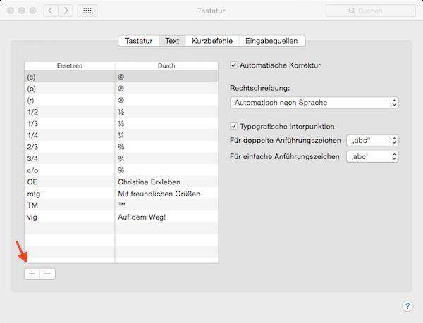 Textbausteine unter Mac OS X eingeben