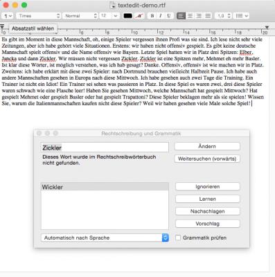 Umfangreiche Rechtschreibprüfung in TextEdit für Mac OS X